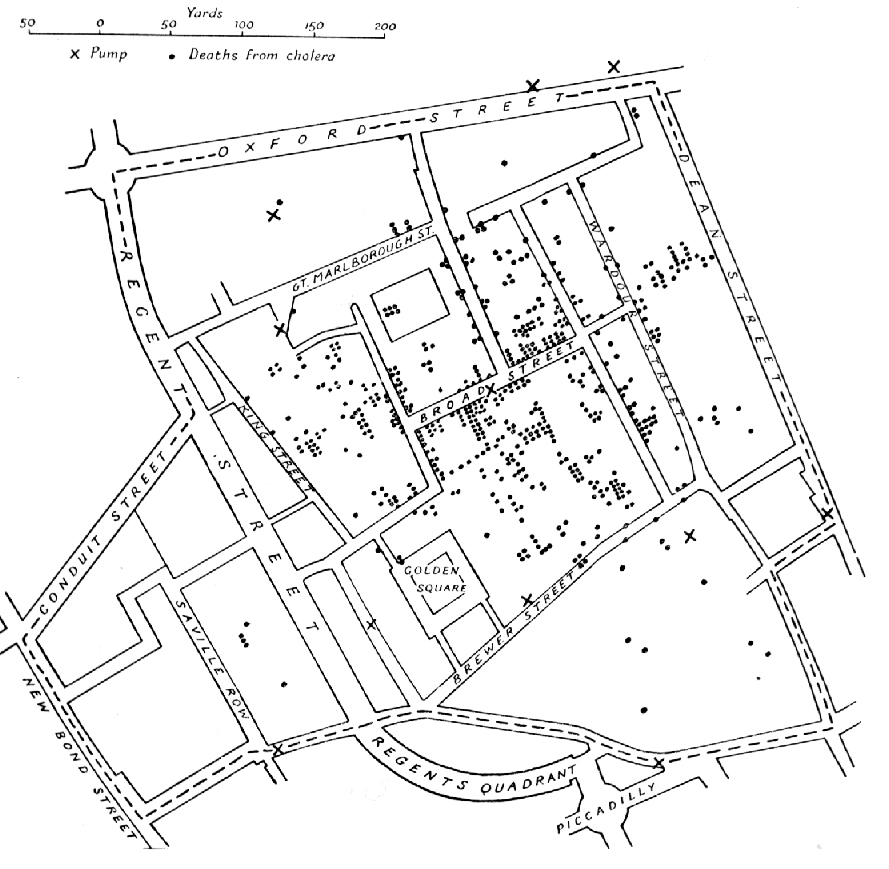 Image result for cholera epidemic london map