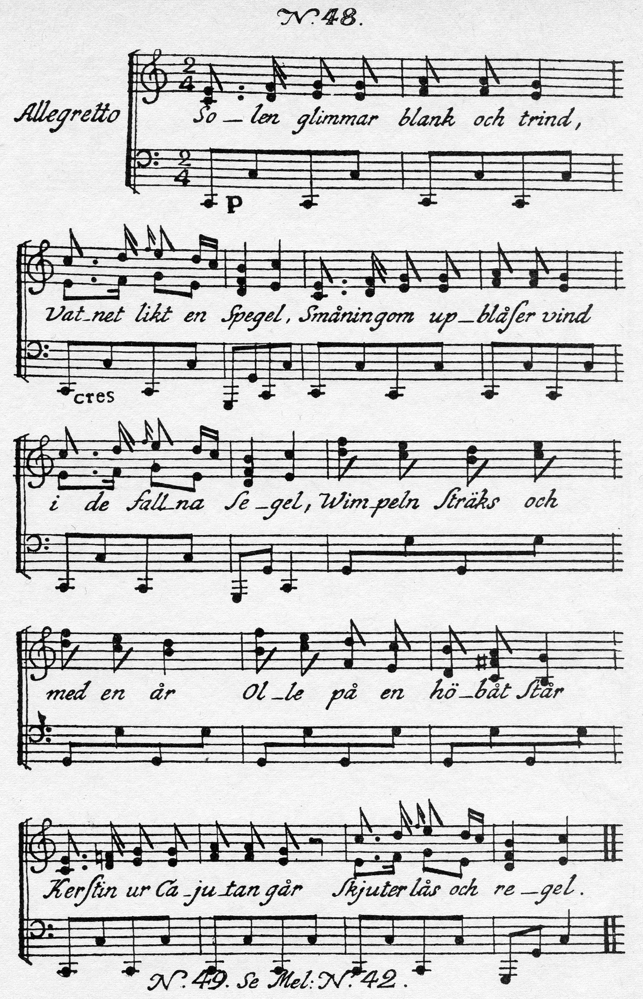 Sheet Music Chord Chart: Solen glimmar blank och trind - Wikipedia,Chart