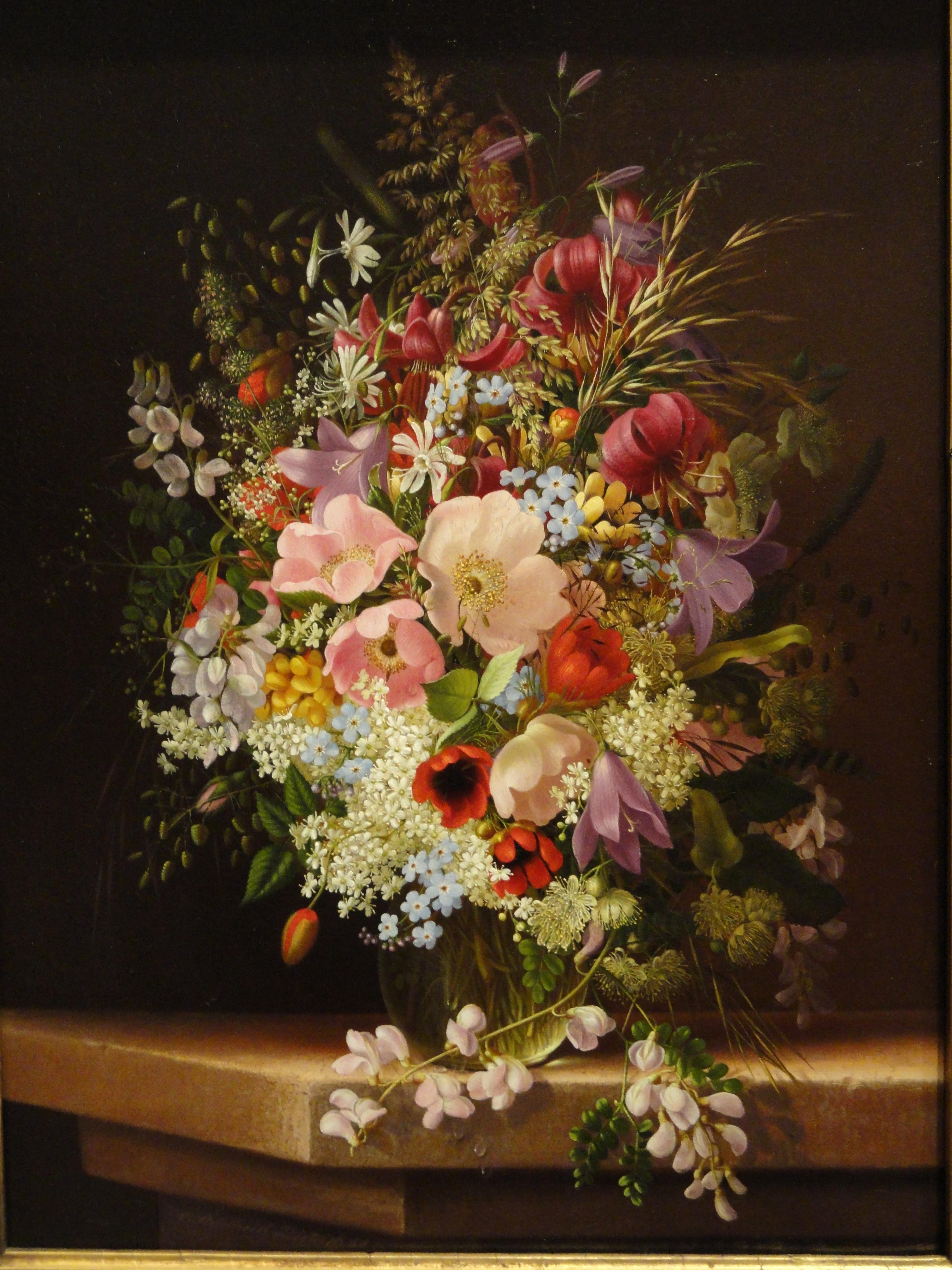 filestill life of flowers by adelheid dietrich, , oil on wood, Beautiful flower