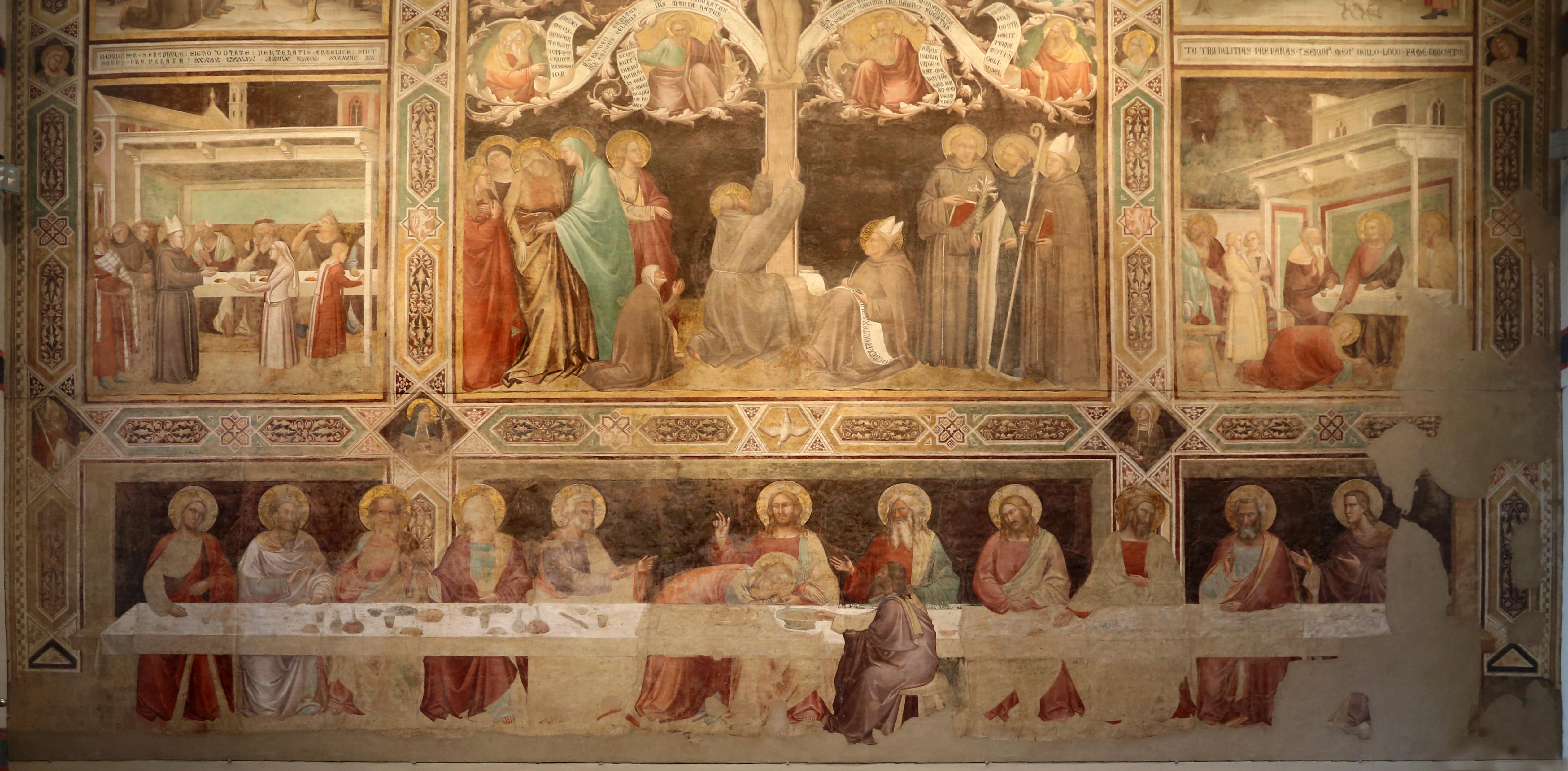 Taddeo Gaddi, Ultima scena e dettaglio dei santi francescani alla base dell'Albero della Vita, (1336-1366 circa), Santa Croce, Firenze