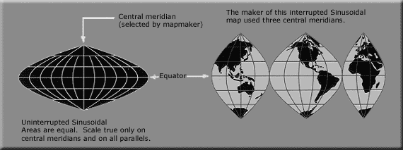 "A sinusoidal projection shows relative sizes accurately, but distorts shapes and directions. Distortion can be reduced by ""interrupting"" the map. Usgs map sinousidal equal area.PNG"