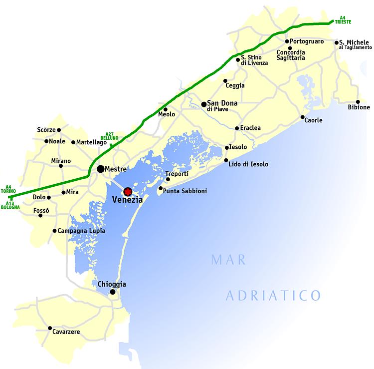 Carte Italie Region Venise.Province De Venise Wikipedia