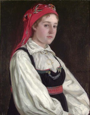 Traditional Norwegian farmer's costumes, known as folkedrakt, and modern costumes inspired by those costumes, known as bunad, are widely used on special occasions. Wilhelmine Seippel.jpg
