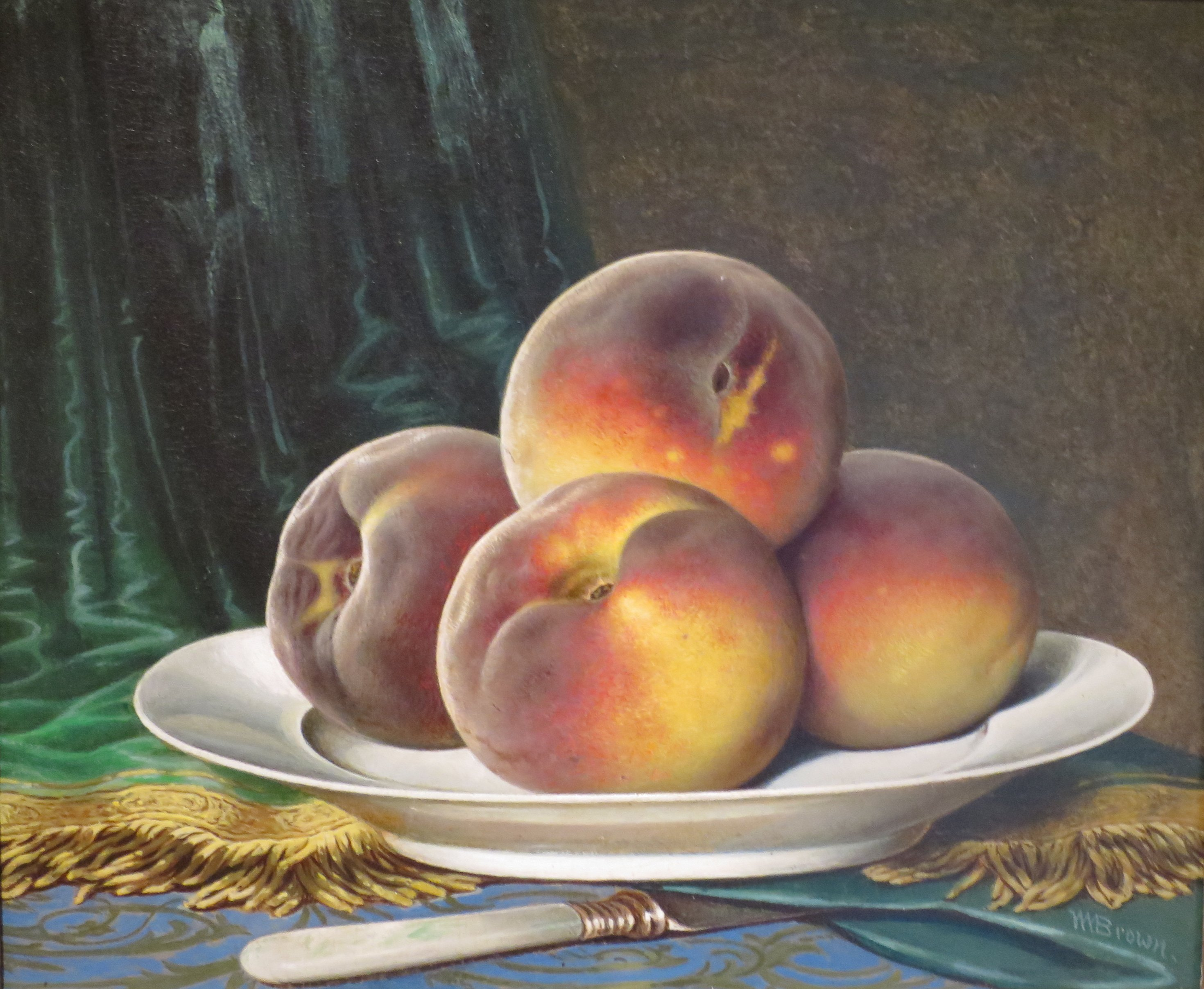 What Type Of Oil >> File:William Mason Brown - 'Peaches on a White Plate', c