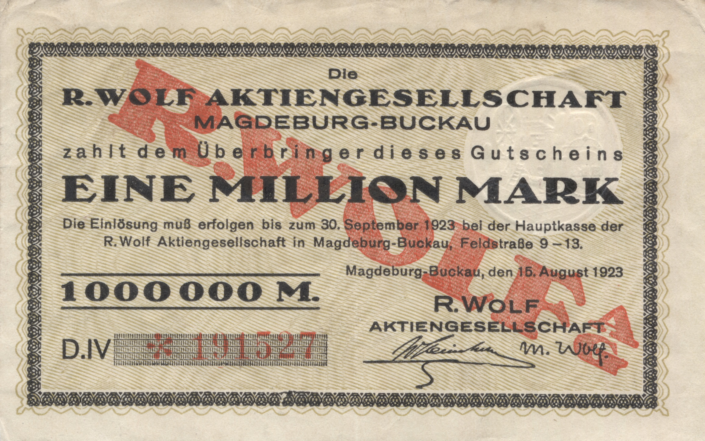 Gutschein über 1 Million Mark 1923 - Quelle: Wikimedia