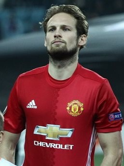 Blind voor Manchester United in 2016.