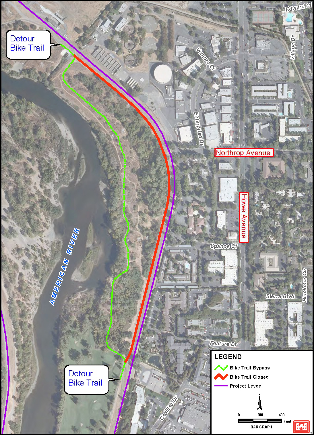 File:(R6) American River Bike Trail detour and levee ... on map of clinton river michigan, map of truckee river bike trail, map of oleta state park, map of sacramento neighborhoods, map of san gabriel river bike trail,