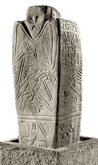 The Kernosovskiy idol, featuring a man with a belt, axes, and testicles to symbolize the warrior;[302] dated to the middle of the third millennium BC and associated with the late Yamnaya culture.[303]