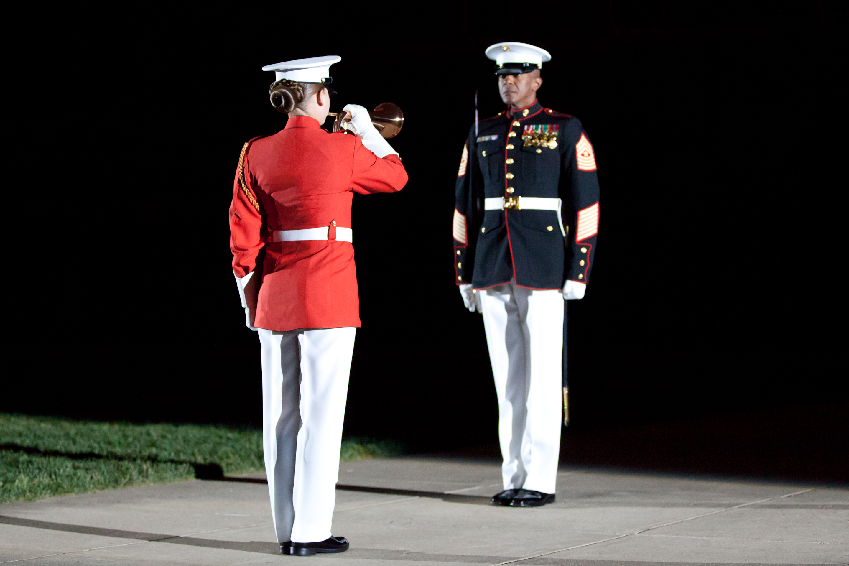 File:A U.S. Marine Corps ceremonial bugler, left, and Sgt ...