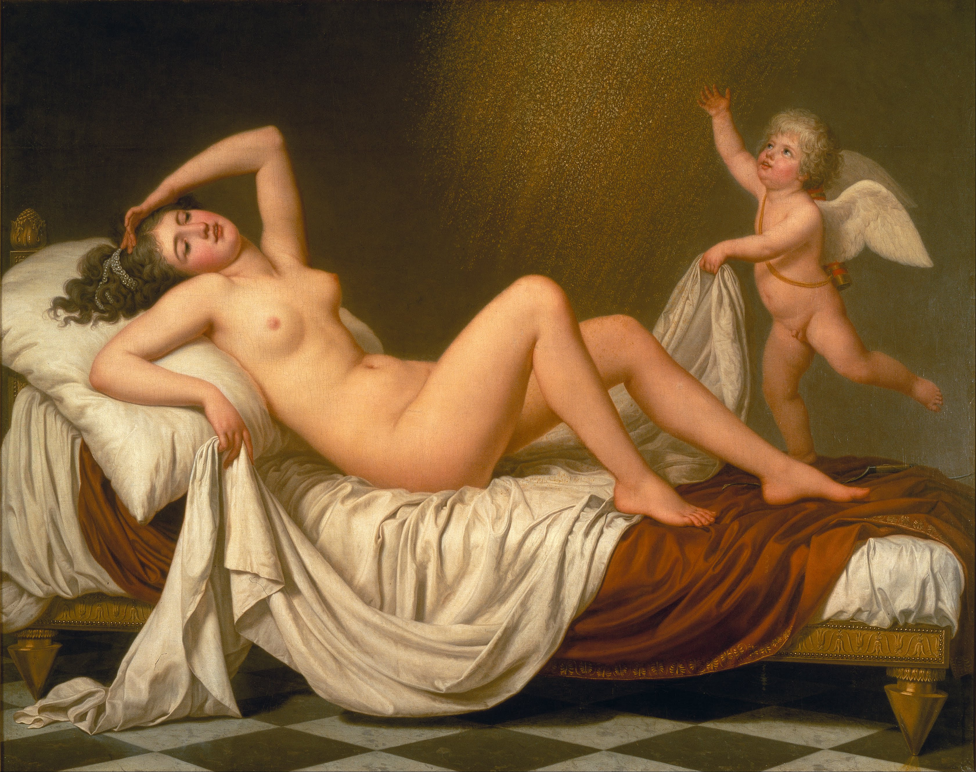 Danaë receiving Jupiter in a Shower of Gold, by Adolf Ulrik Wertmüller (1787)