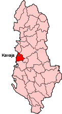 Map showing Kavaje within Albania