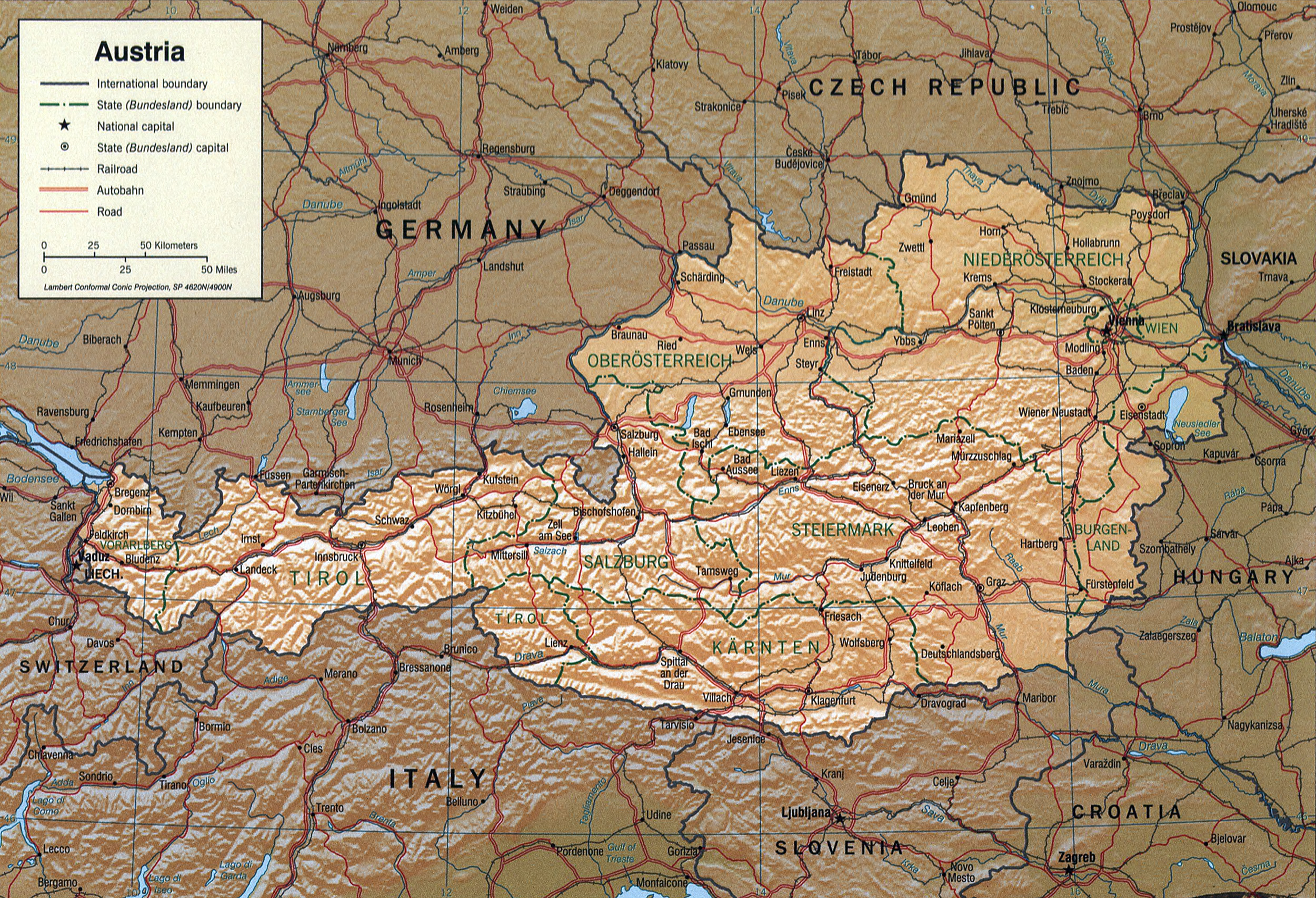 Detailed Map of Austria