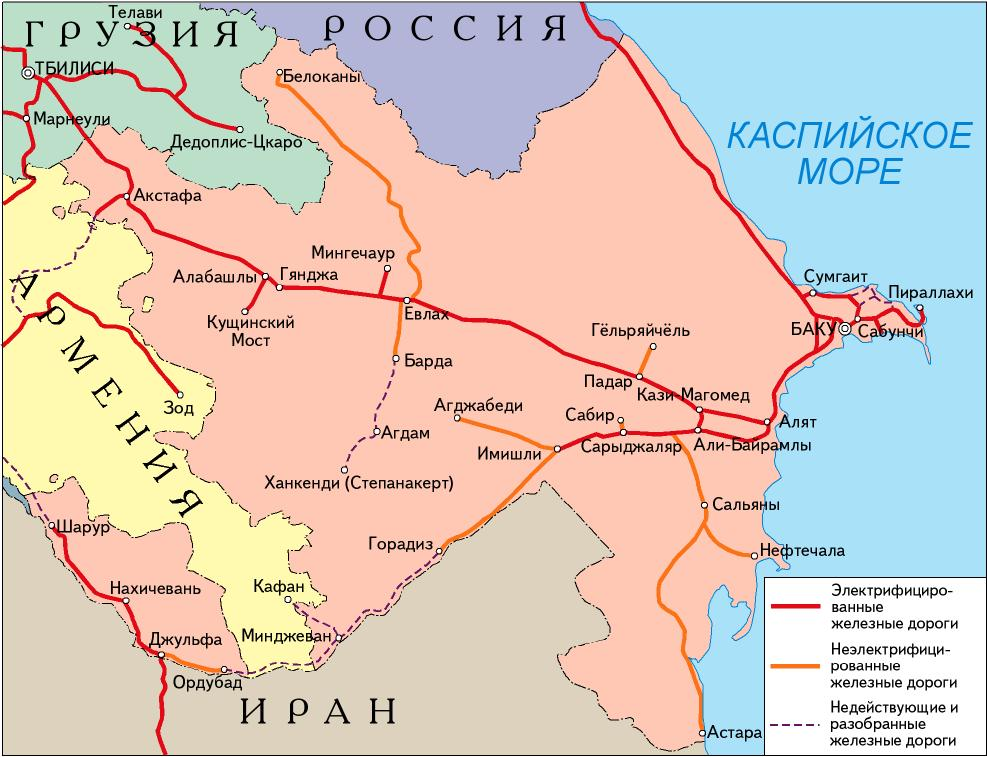 Karta Azerbajdzhana S Mestorozhdeniyami Nefti I Nefteprovodami Map