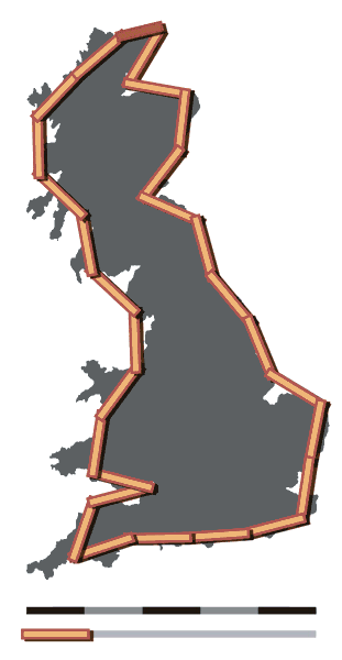 Britain Coastline at 100 km