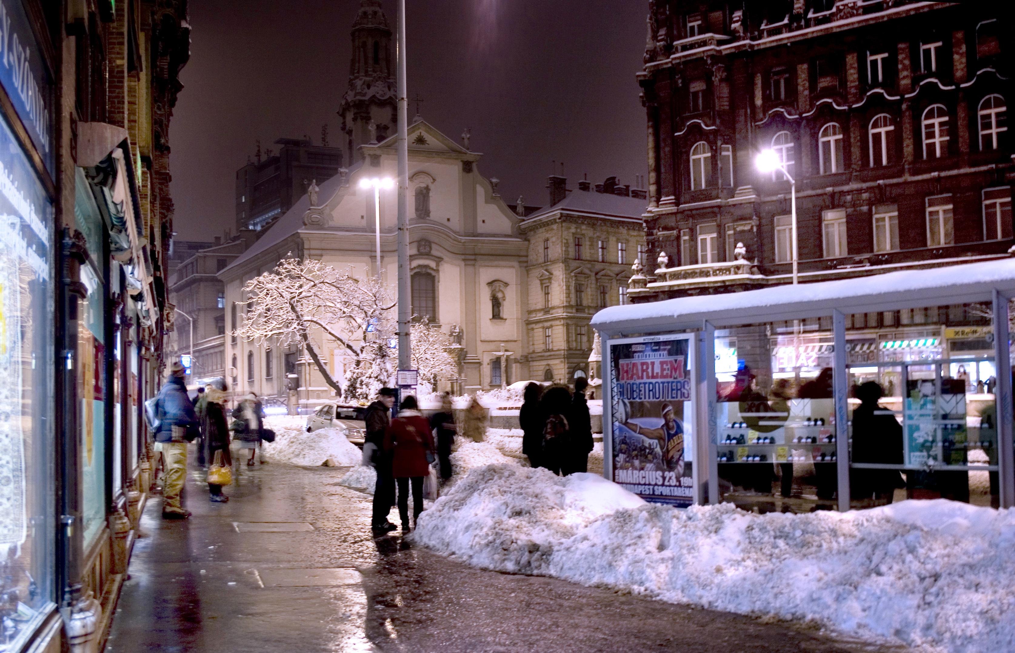 File Budapest Franciscan Square Winter Evening I Jpg