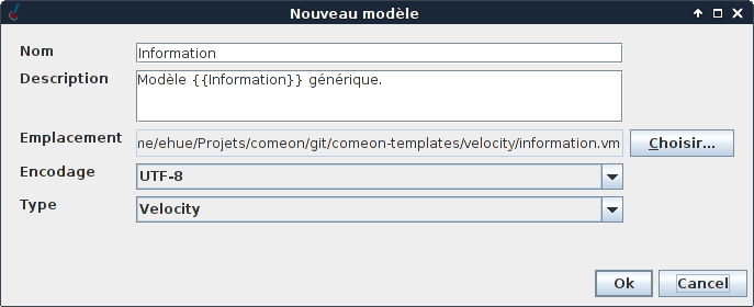 Configuring a new template.