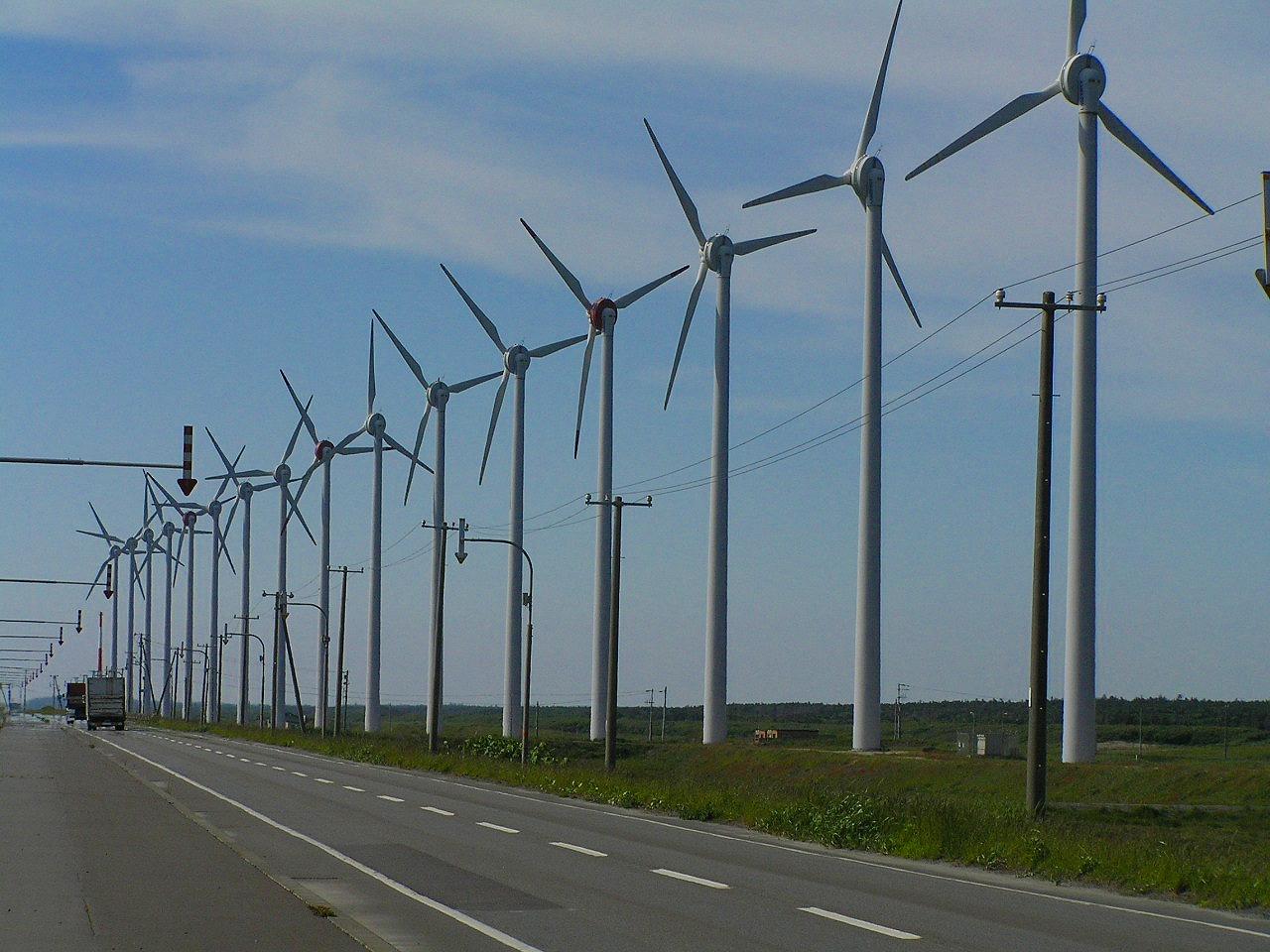 Electricity generating windmills in Hokkaido.jpg