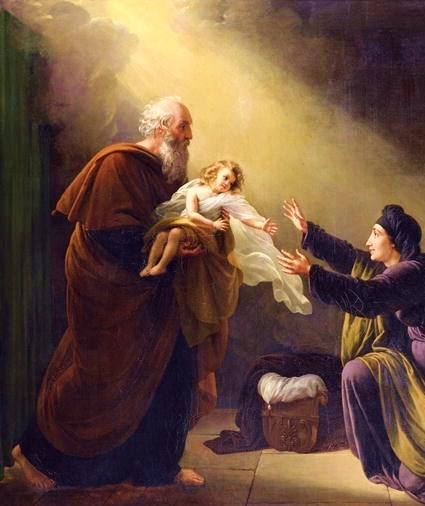 Elijah reviving the Son of the Widow of Zarephath by Louis Hersent ElijahByLouisHersent.JPG