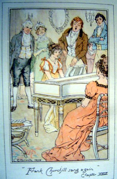 Illustration. Jeune fille au piano et jeune homme debout chantant, face au public
