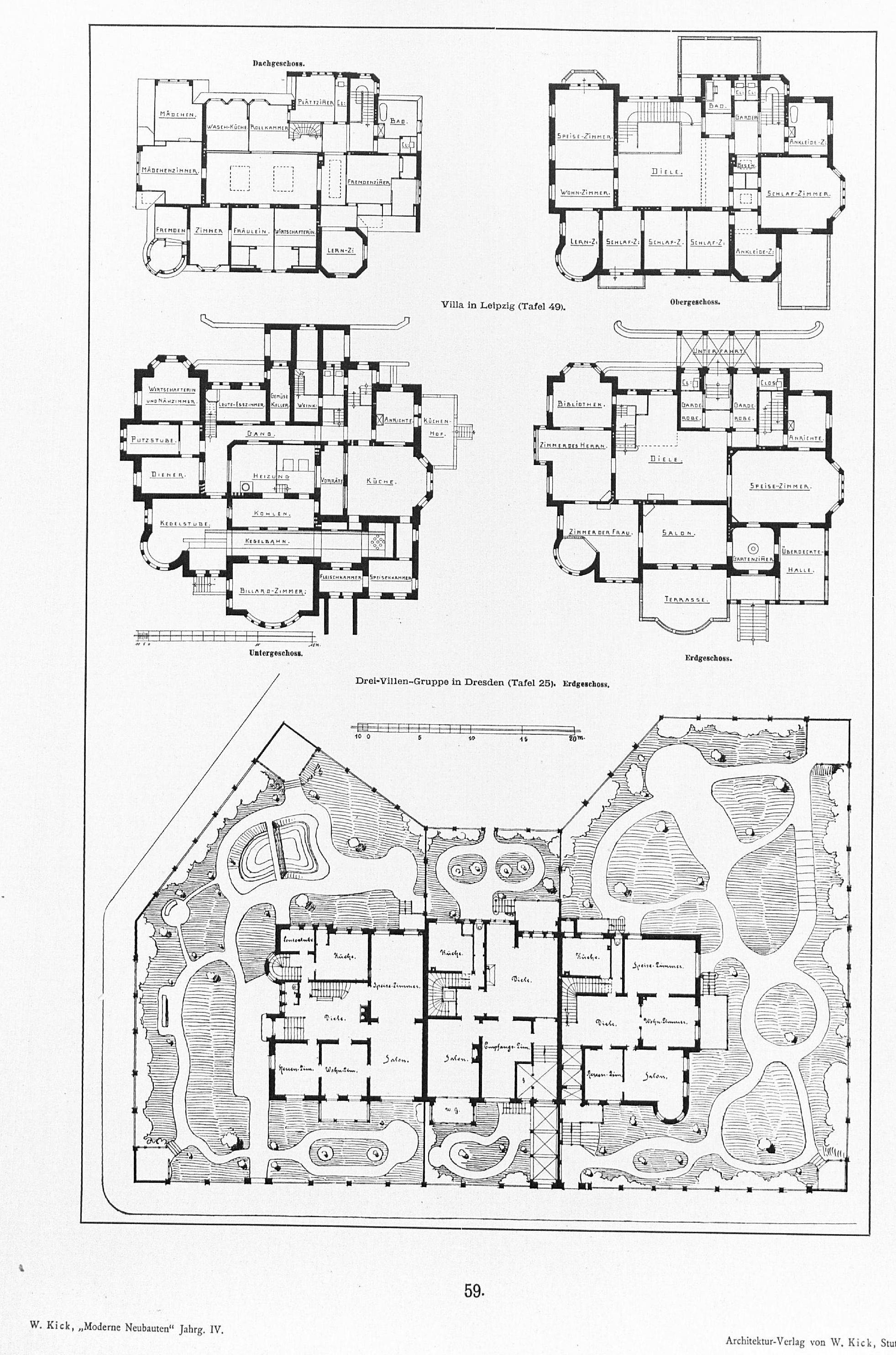 file grundrisse drei villen gruppe in der comeniusstra e dresden villa wikimedia. Black Bedroom Furniture Sets. Home Design Ideas