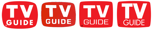 Past logos used by the publication (l-r): 1953-1962, 1962-1968, 1968-1988 and 1988-2003. Historic TV Guide logos.png