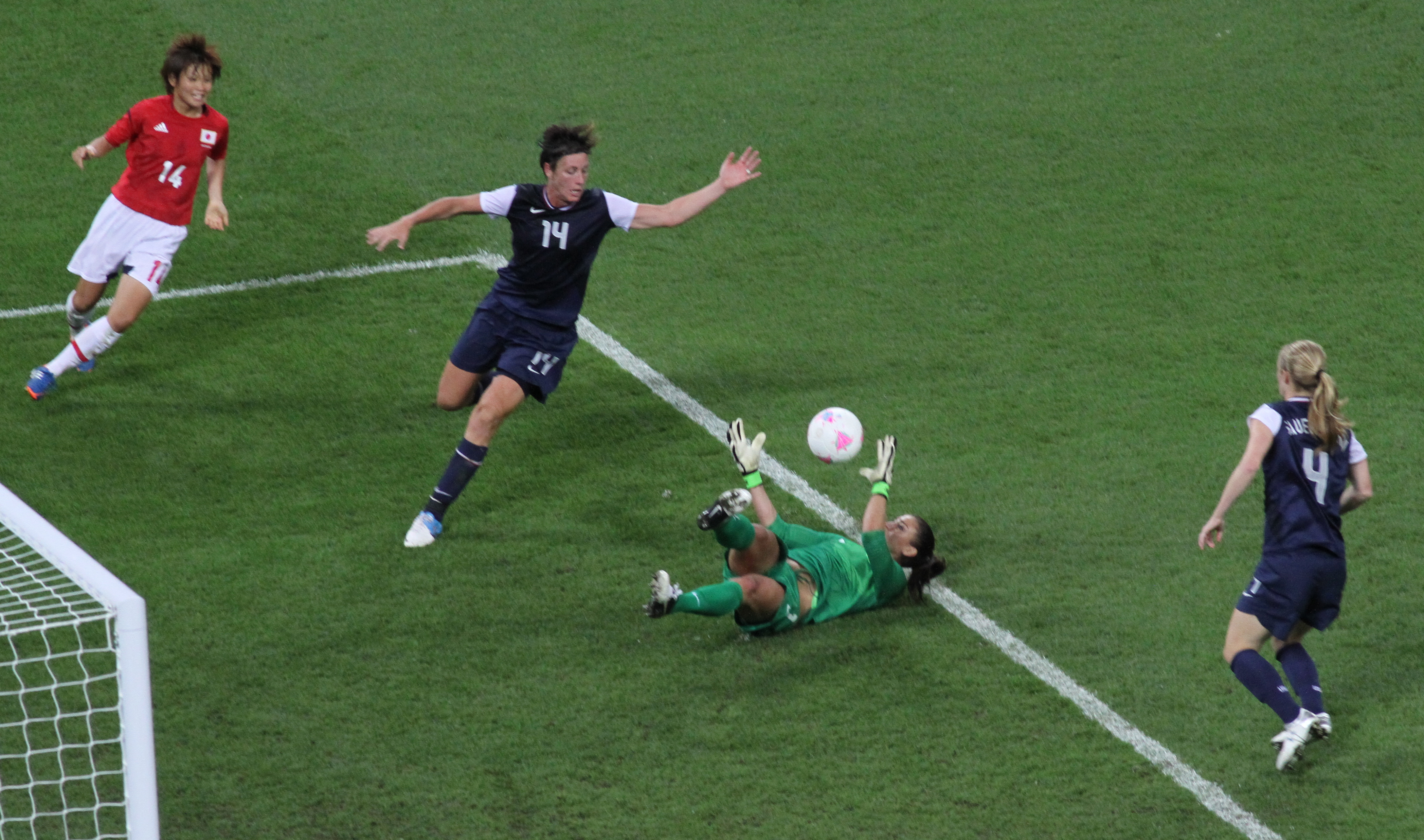Soccer Game Between Japan And United States Goalkeeper Hope Solo Lies On  The Ground Saving