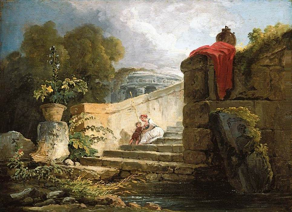 File hubert robert a scene in the grounds of the villa for Ancient mural villa