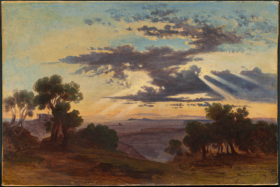 ''Sun Breaking through Clouds above the Roman Campagna''