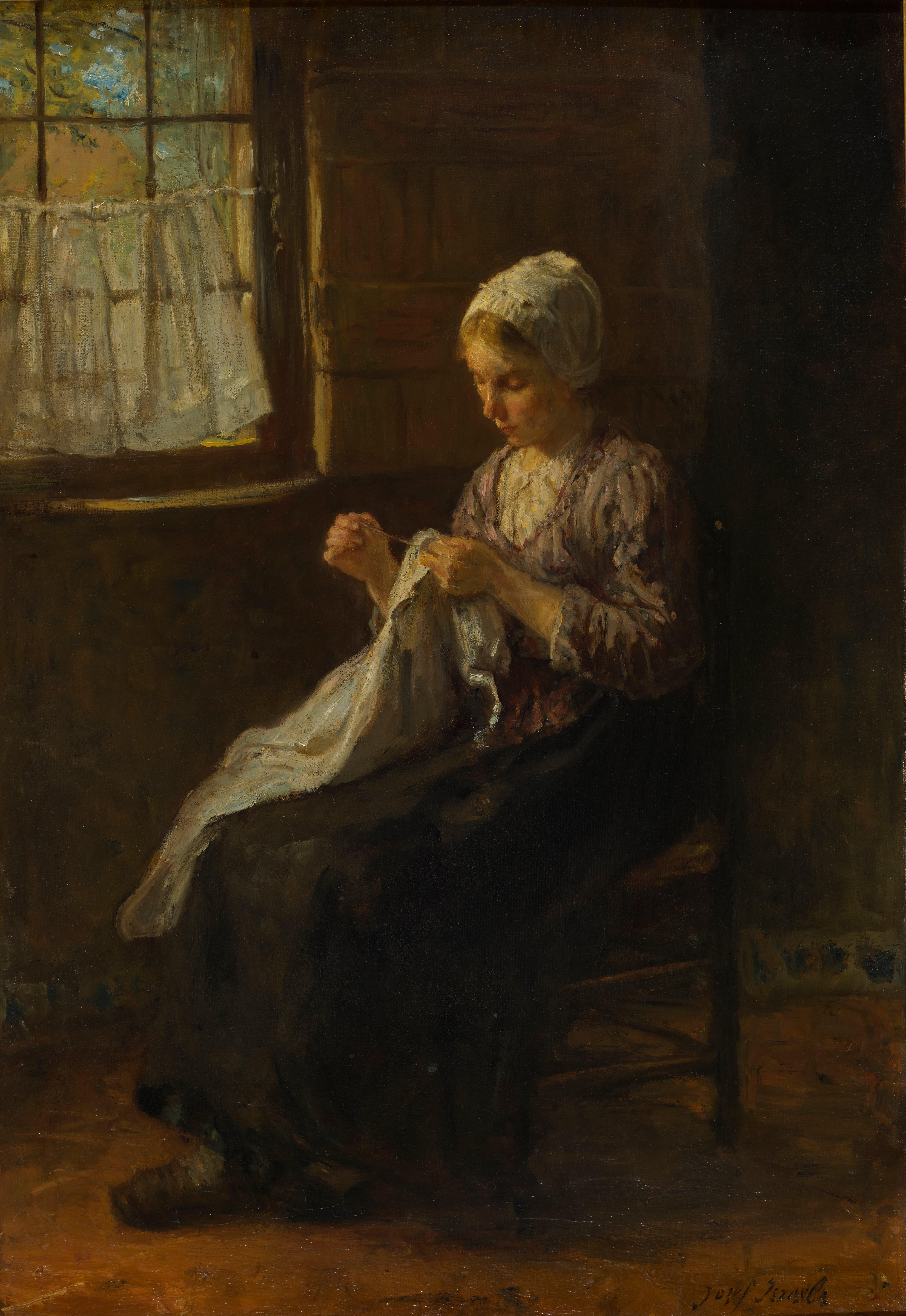 ヨゼフ・イスラエルス『縫い物をする若い女』
