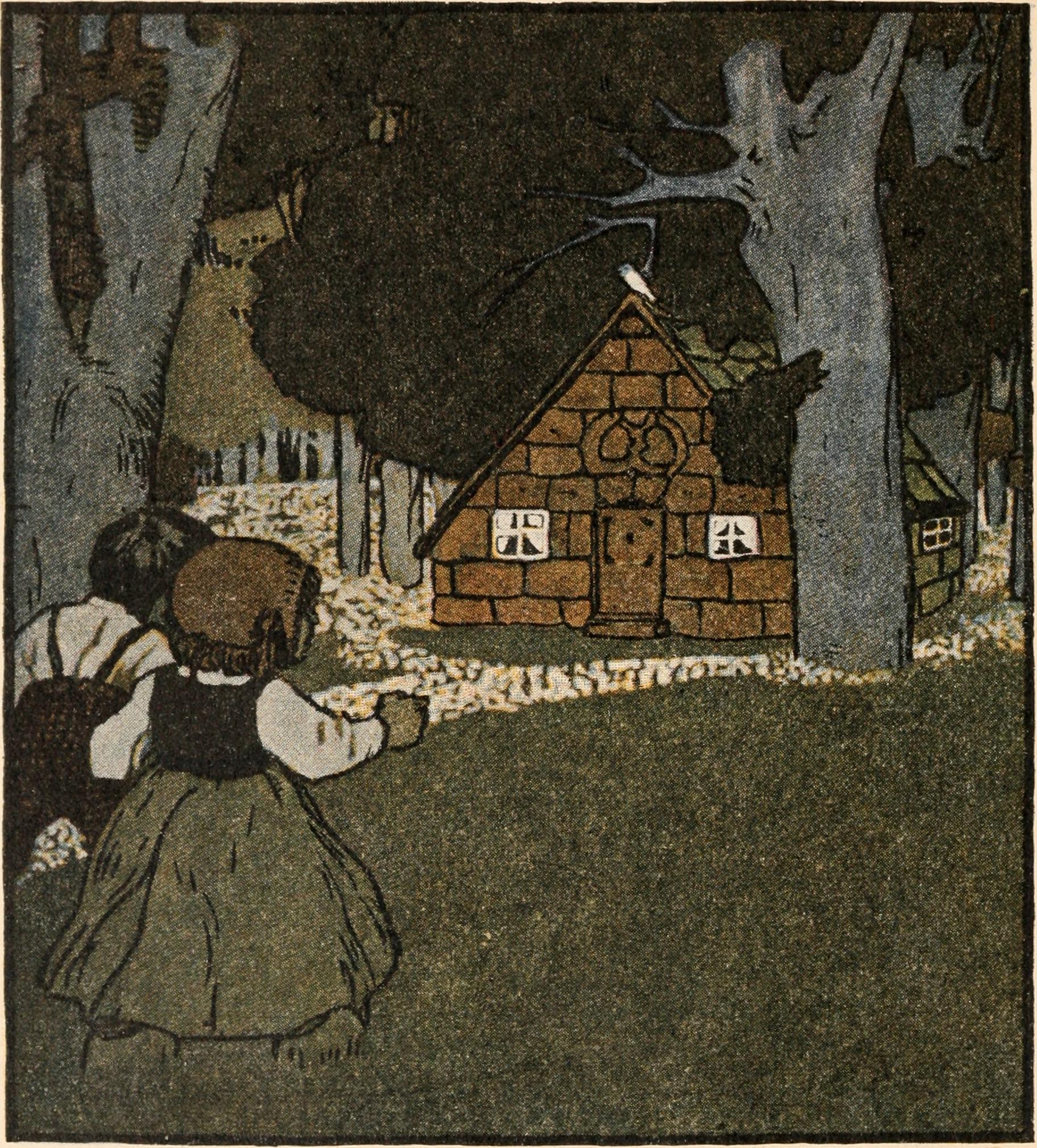 Hänsel und Gretel im Wald auf dem Weg zum Lebkuchenhaus