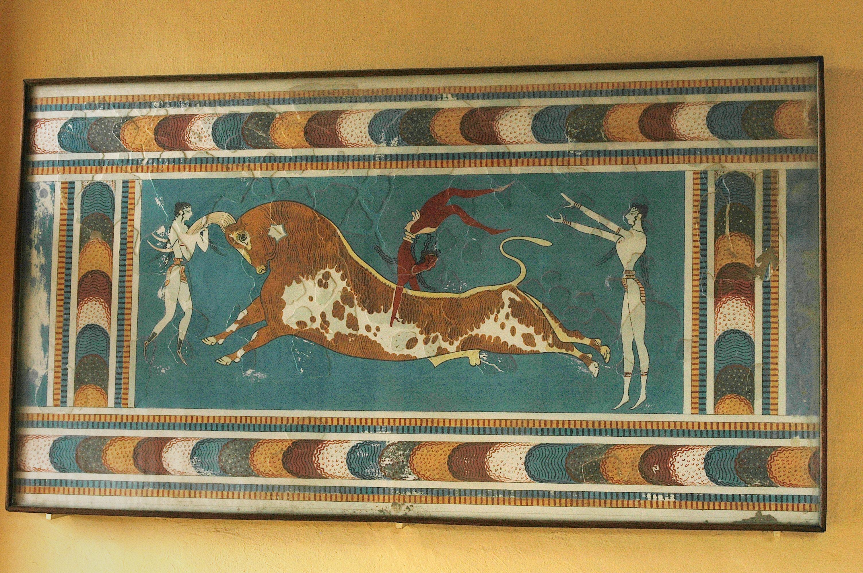 Knossos, fresque au taureau.