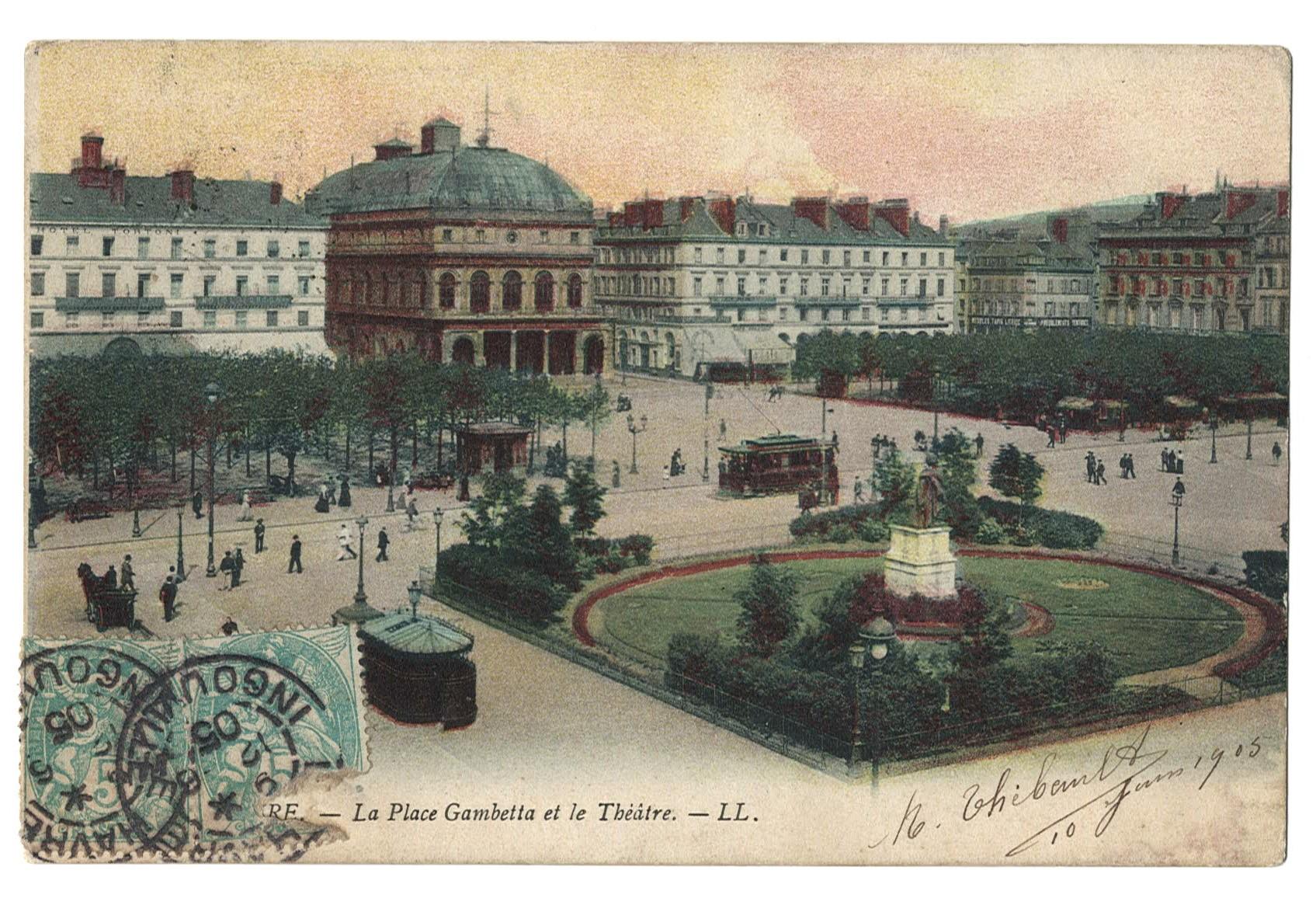 La Place Gambetta et le Théâtre (recto).jpg