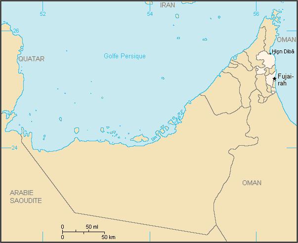 Carte de l'émirat de Fujaïrah, source Wikicommons