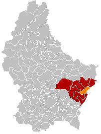 Map showing, in orange, the Grevenmacher commune'