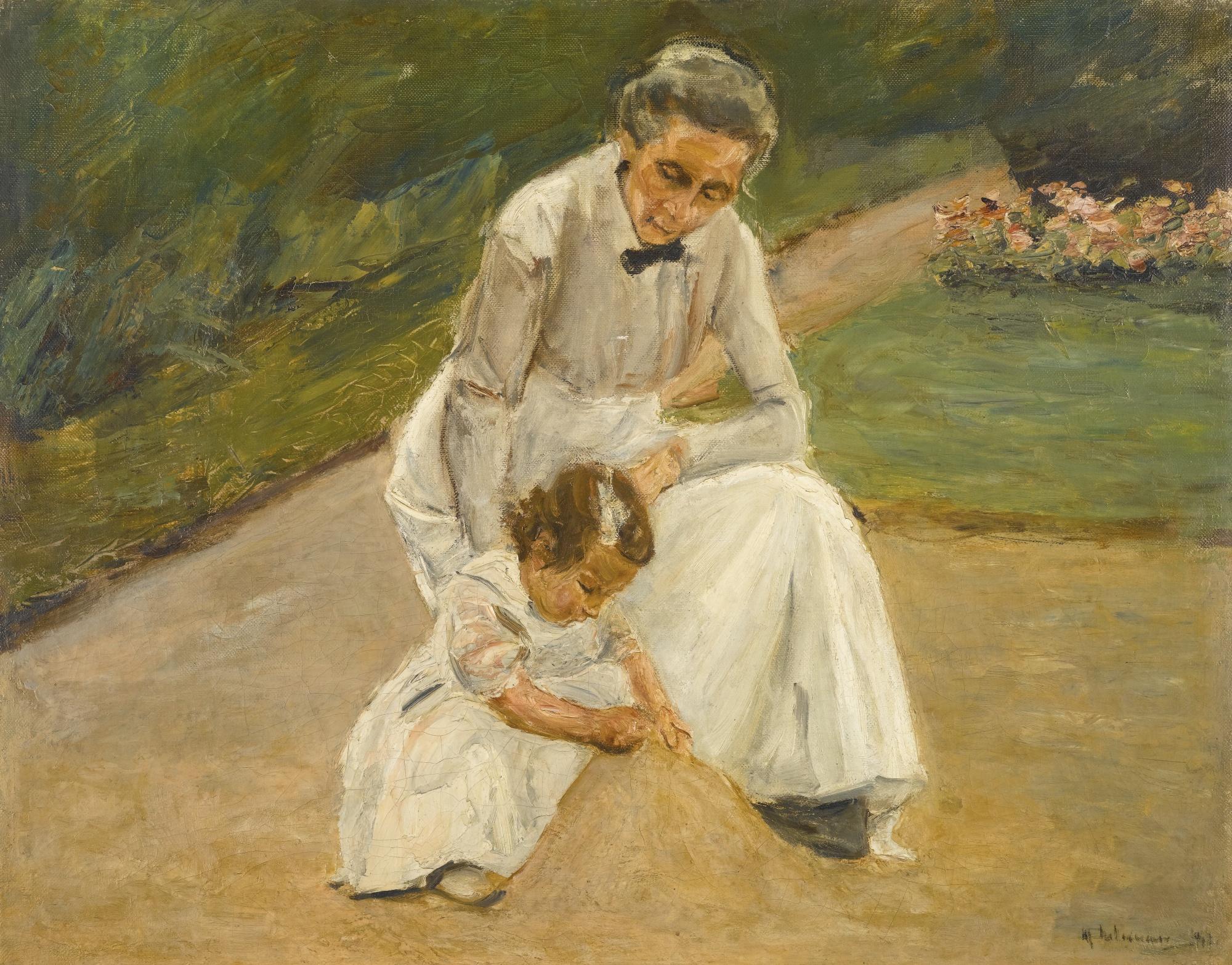 Max Liebermann - Enkelin und Kinderfrau beim Spiel im Garten (1919).jpg
