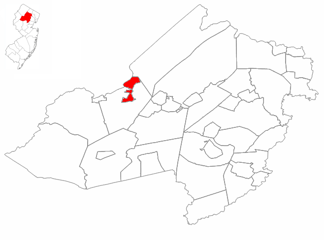 Morris County's position in New Jersey is in turn highlighted in red. Adapted from en:Image:Morris_County,_New_Jersey_Municipalities.png by way of Image:Morris