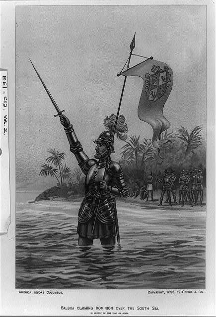 Vasco Nunez de Balboa reclamando el Mar del Sur