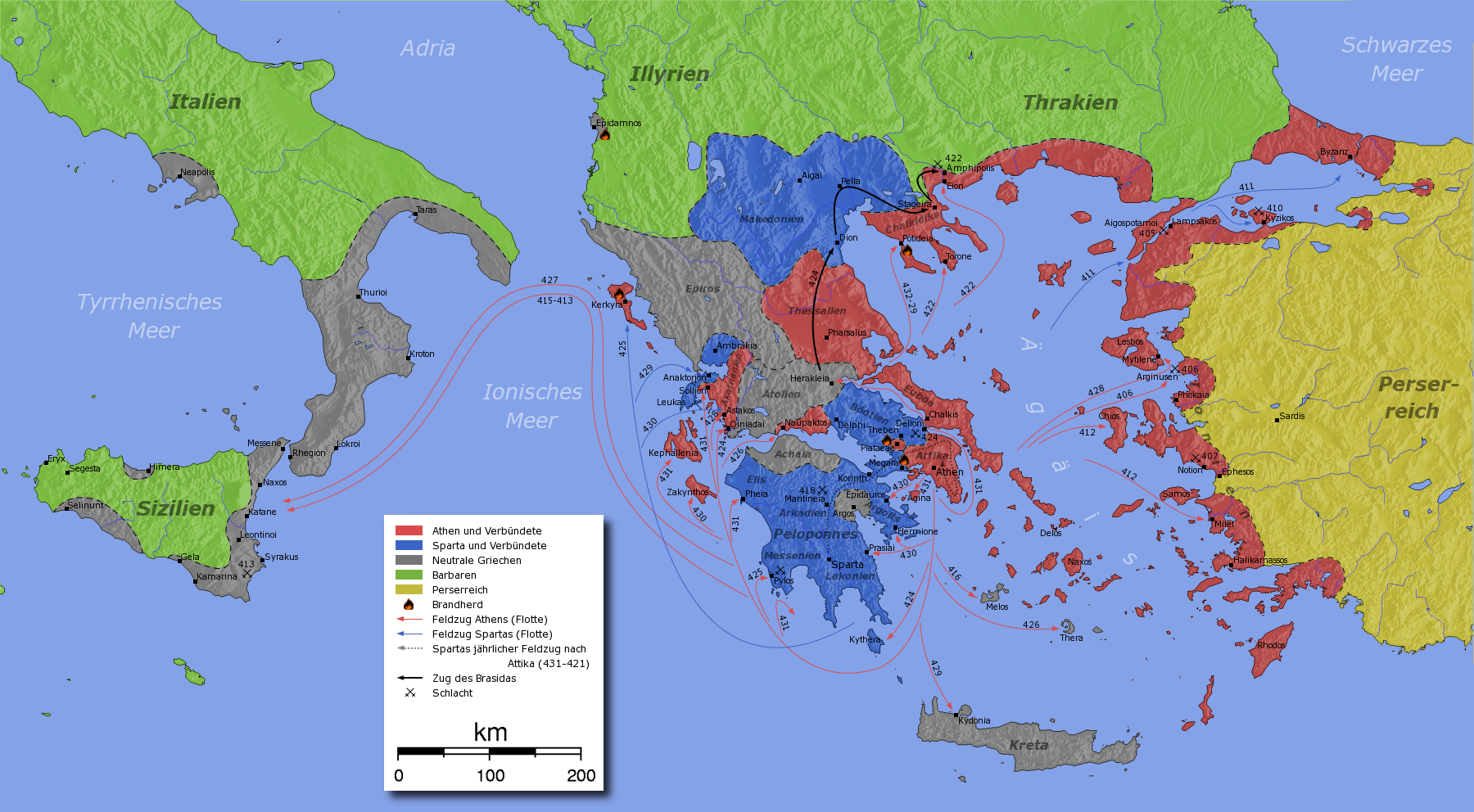 Karta Aten Grekland.Peloponnesiska Kriget Wikipedia