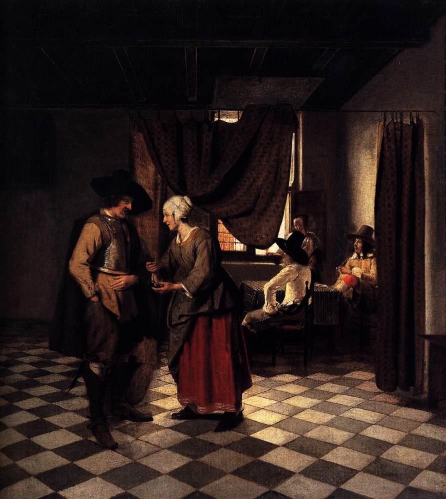 File:Pieter de Hooch - Paying the Hostess jpg - Wikimedia