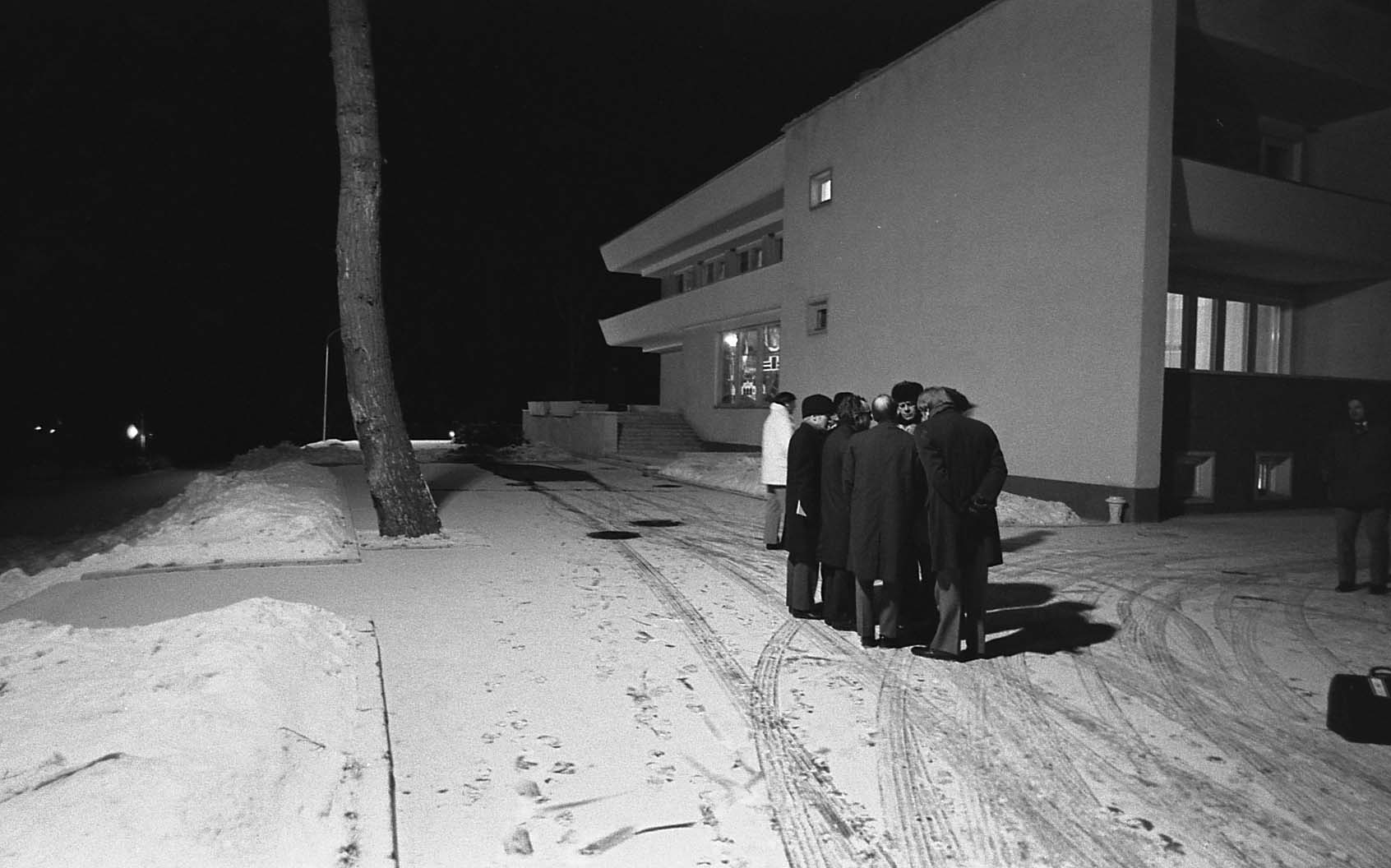 President Ford and the US Delegation meeting outside during the Vladivostok Summit to avoid being bugged, 1974
