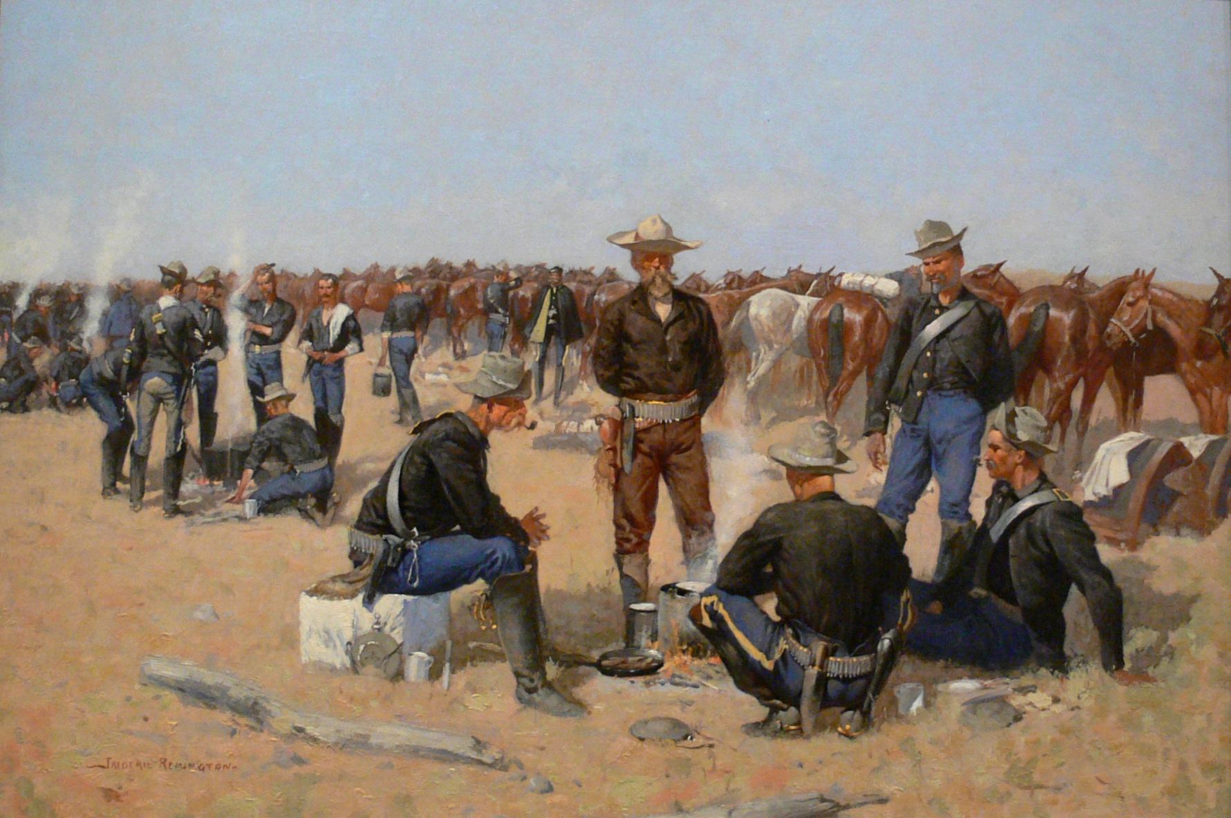 File:Remington A Cavalrymans Breakfast on the Plains c1892.jpg - Wikipedia