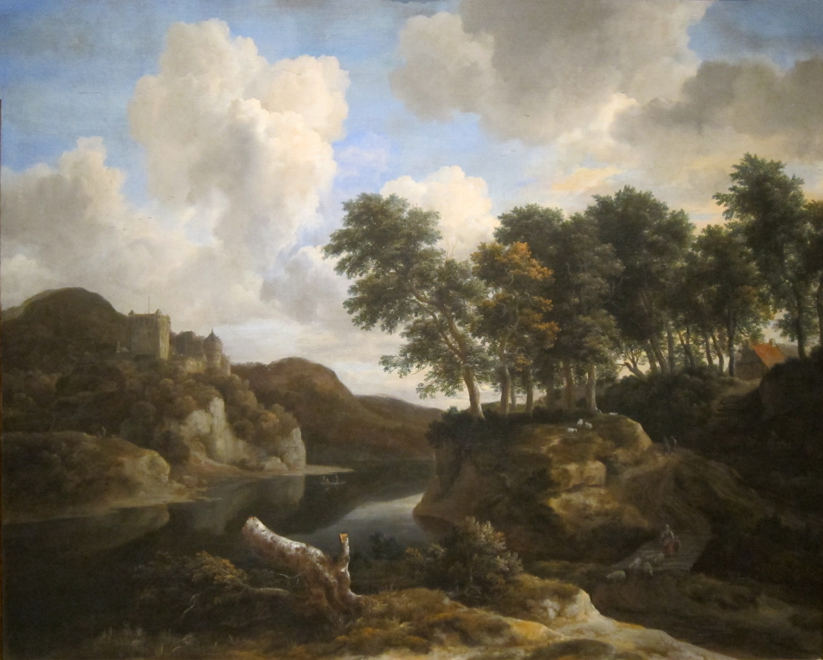 fileriver landscape with a castle on a high cliff by