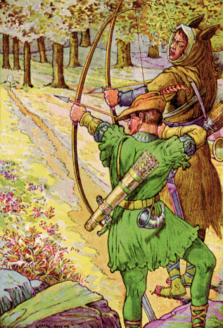 Robin Hood illustrated in 1912 wearing Lincoln green Robin shoots with sir Guy by Louis Rhead 1912.png