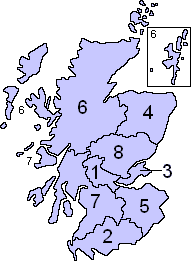 Map showing former regional police forces of Scotland