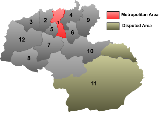 A map of the 12 counties of the city