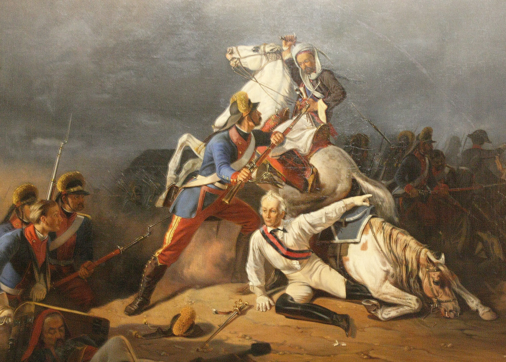 A wounded Suvorov saved by Grenadier Novikov at the Battle of Kinburn. Suvorov fall.jpg