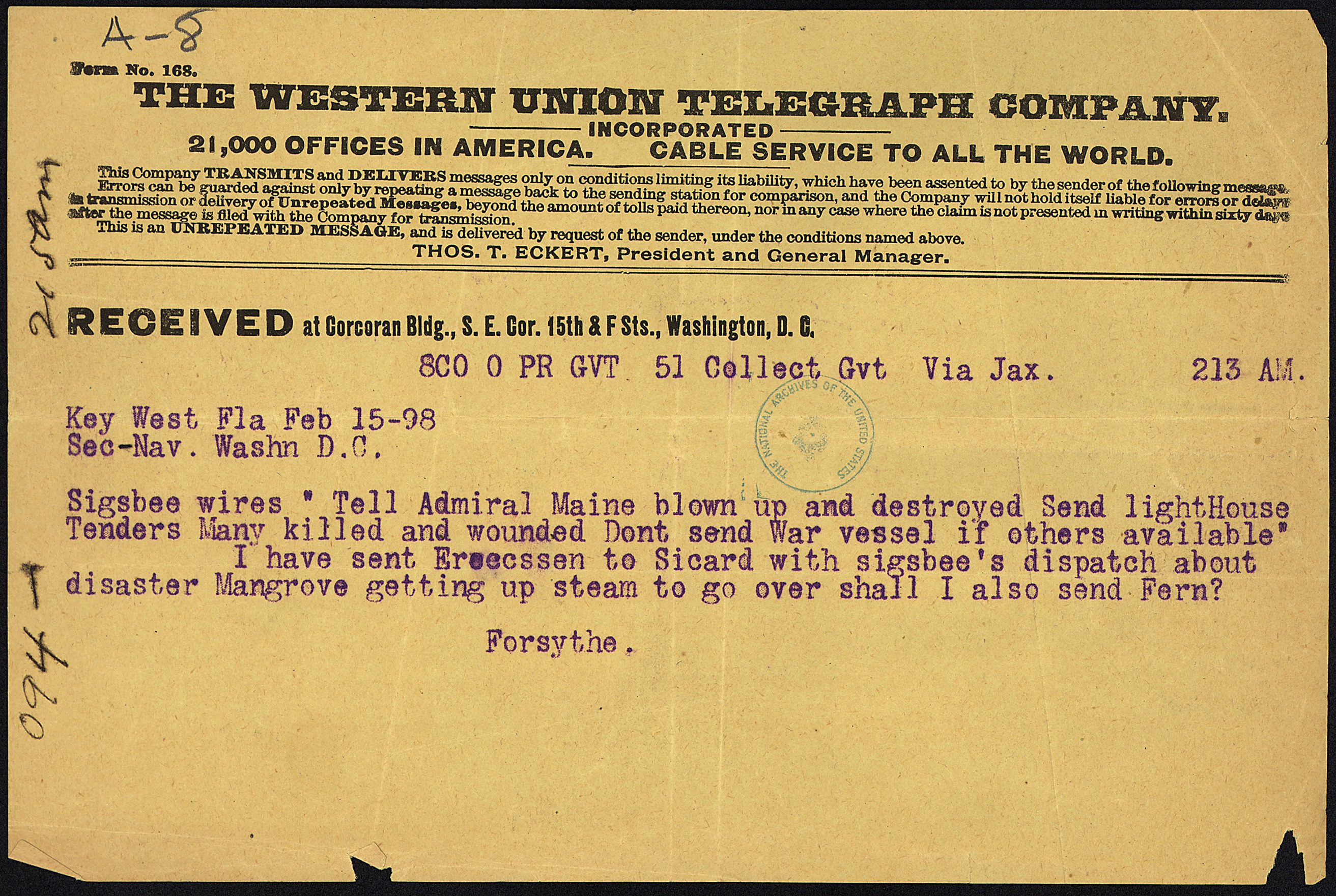 File telegram from james a forsythe to secretary of the navy nara
