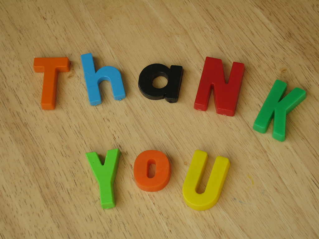 Thank You spelled with colorful magnetic letters