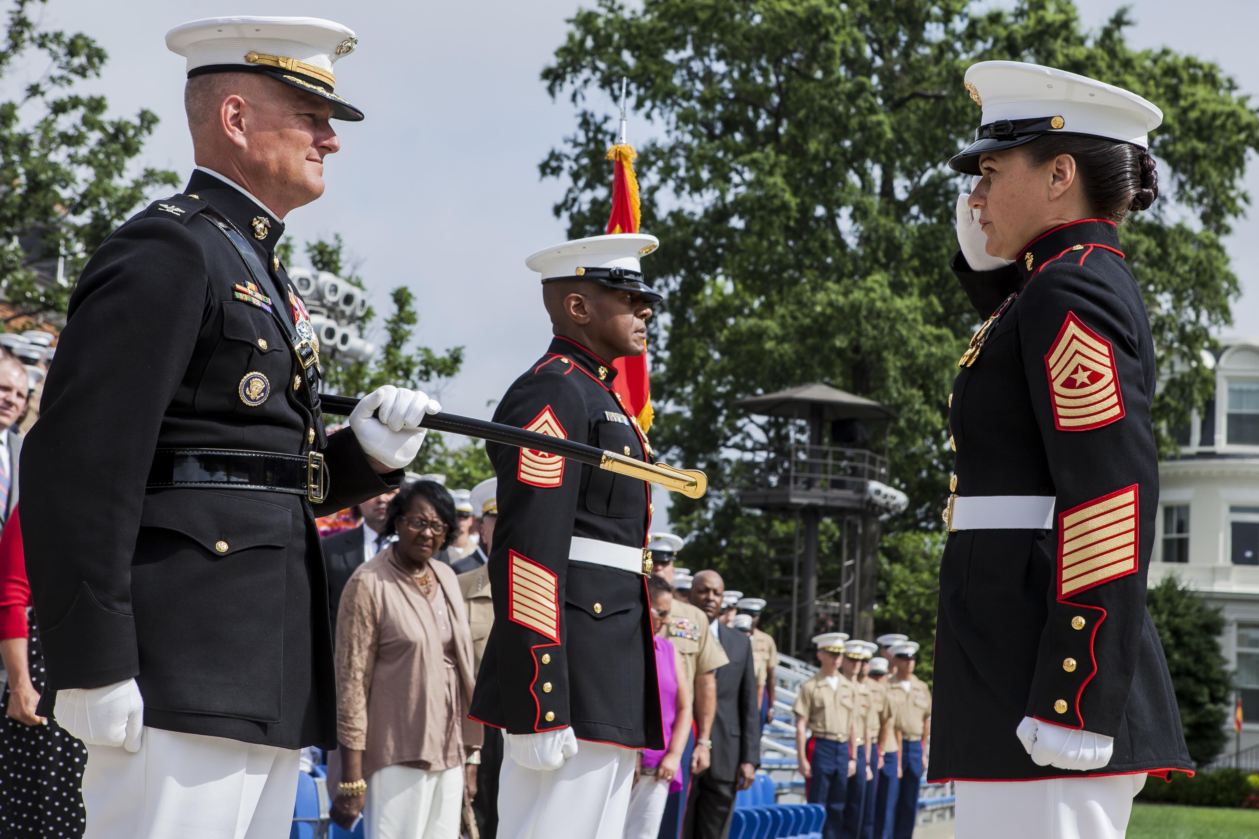 File:U.S. Marine Corps Sgt. Maj. Angela M. Maness, right ...