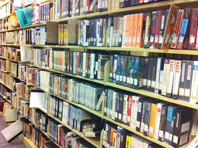 VHS Tapes on Library Shelves